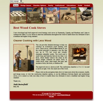 Best Wood Cook Stoves website screen capture, with translation feature